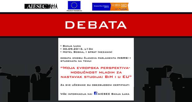 Poziv na debatu o evropskoj perspektivi i mogućnostima mladih za nastavak studija u BiH i u EU