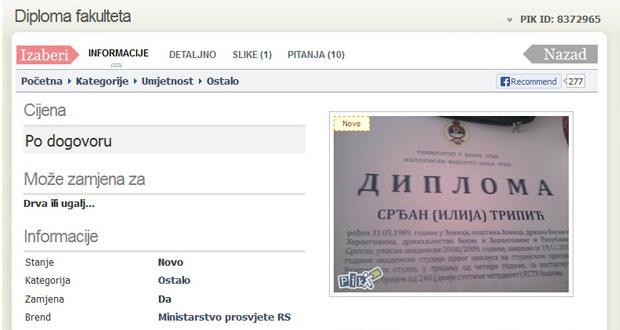 Preko oglasa prodaje diplomu Filozofskog fakulteta u Banjaluci