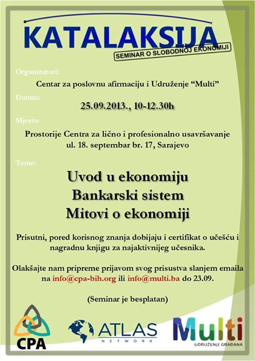 """Poziv na seminar: """"Katalaksija – ekonomija u jednoj lekciji"""""""