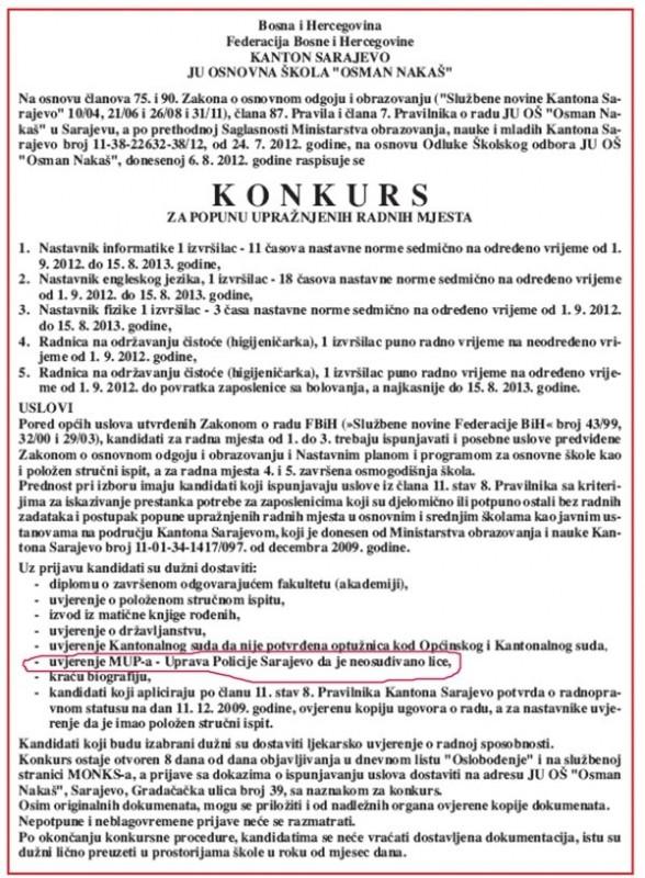 """FOTO: OŠ """"Osman Nakaš"""" - Konkurs za popunu upražnjenih radnih mjesta"""