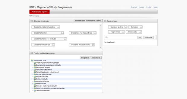 UNTZ: Implementirana aplikacija Registar studijskih programa
