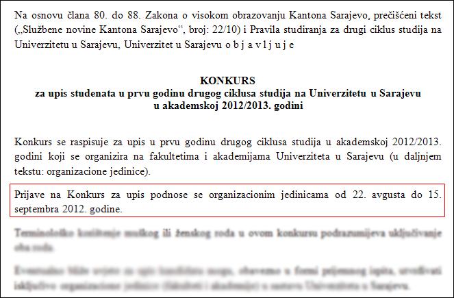 Diskriminacija na UNSA: Konkurs za upis na II ciklus studija