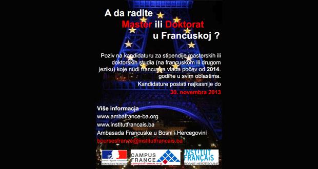 Javni poziv Vlade Republike Francuske za dodjelu stipendija za 2014. godinu