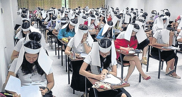 Papirne kape protiv prepisivanja na ispitu